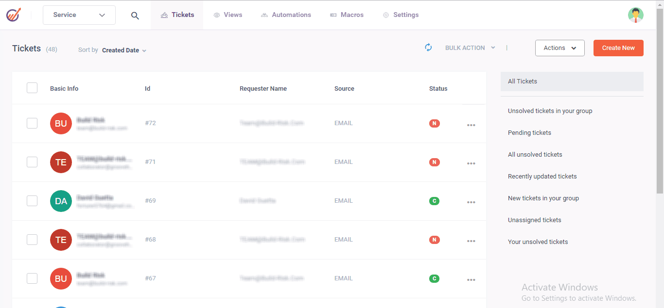 customer support tickets in EngageBay