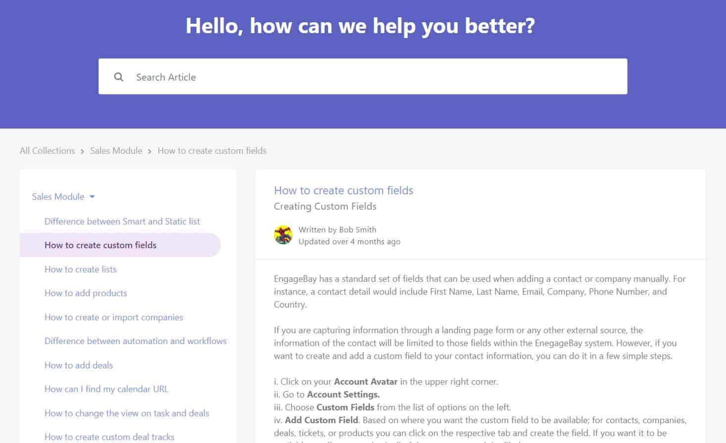 EngageBay Help Desk for customer service