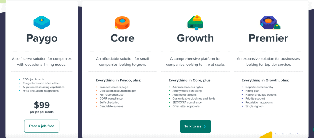 Workable HR software pricing