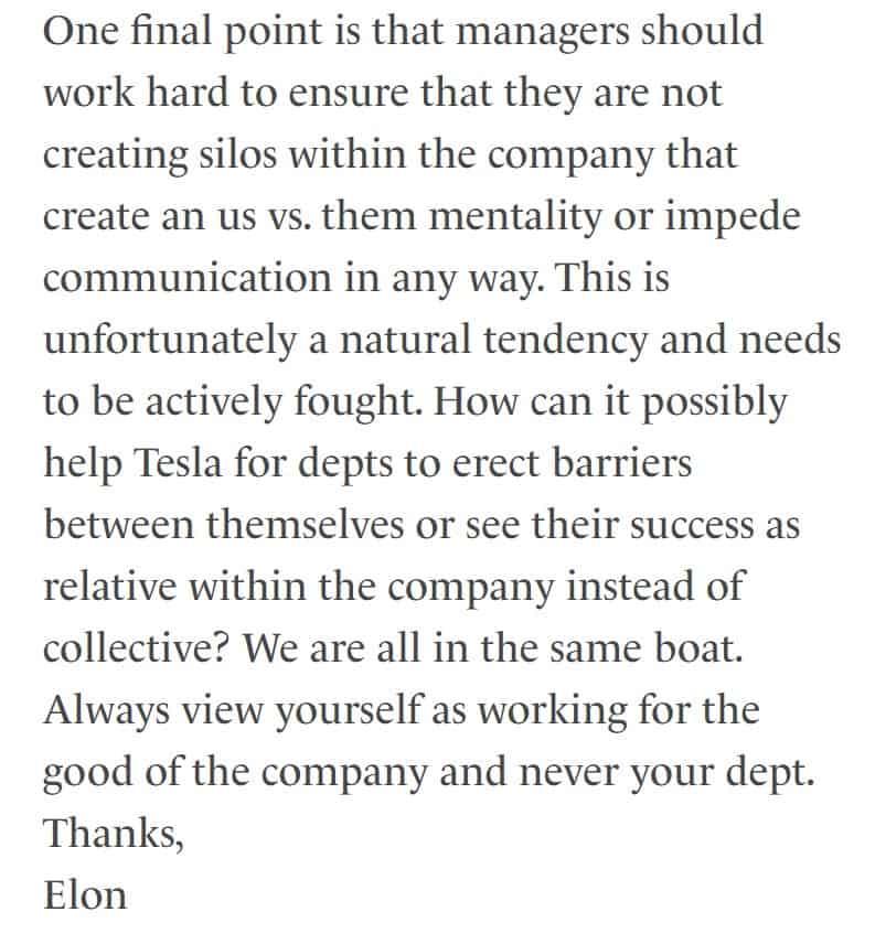 break silo mentality Elon Musk email