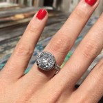 Ricki-Lee Coulter's Cushion Cut with Pave Halo