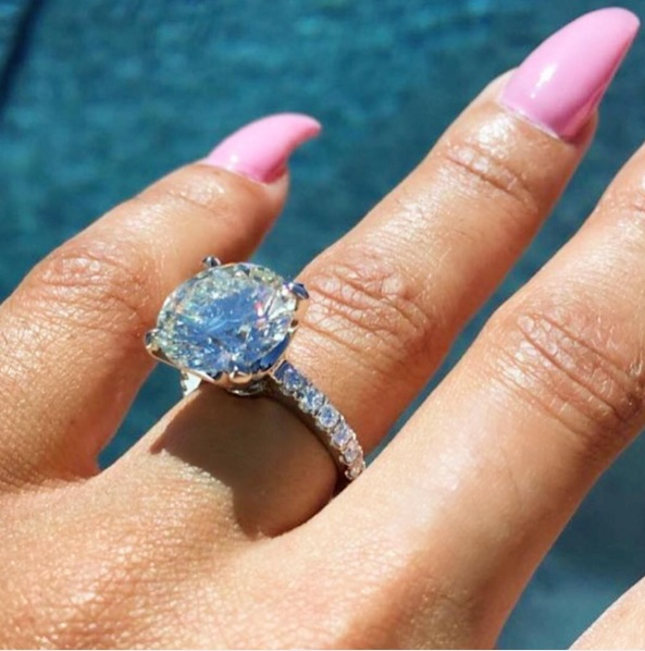 Blac Chyna\'s Cushion Cut Diamond Ring | The Engagement Ring Bible
