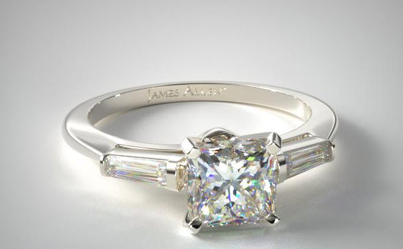 18k white gold tapered baguette with a princess cut diamond