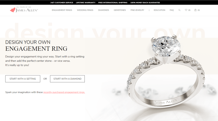 We recommend JamesAllen.com for purchasing engagement rings online