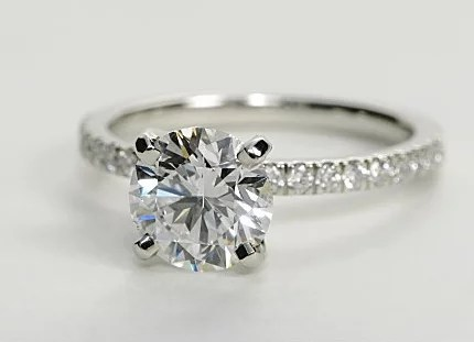 Petite Pave Engagement Ring Thin Shank Engagement Ring