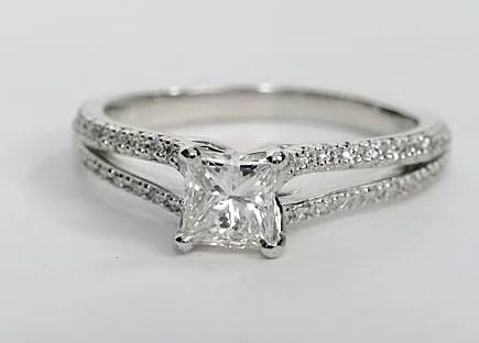 Split Shank Princess Cut Diamond Engagement Ring