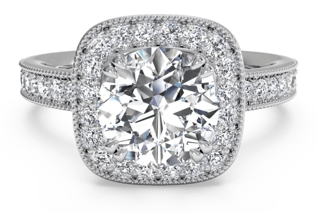 Vintage Style Cushion Cut Halo Engagement Ring And