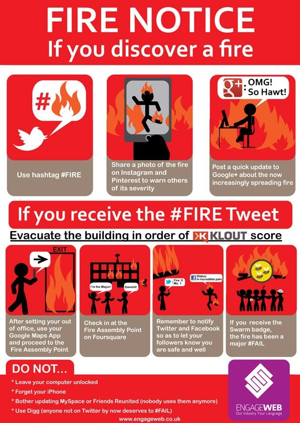 Engage Web's Social Network User's Fire Safety Notice
