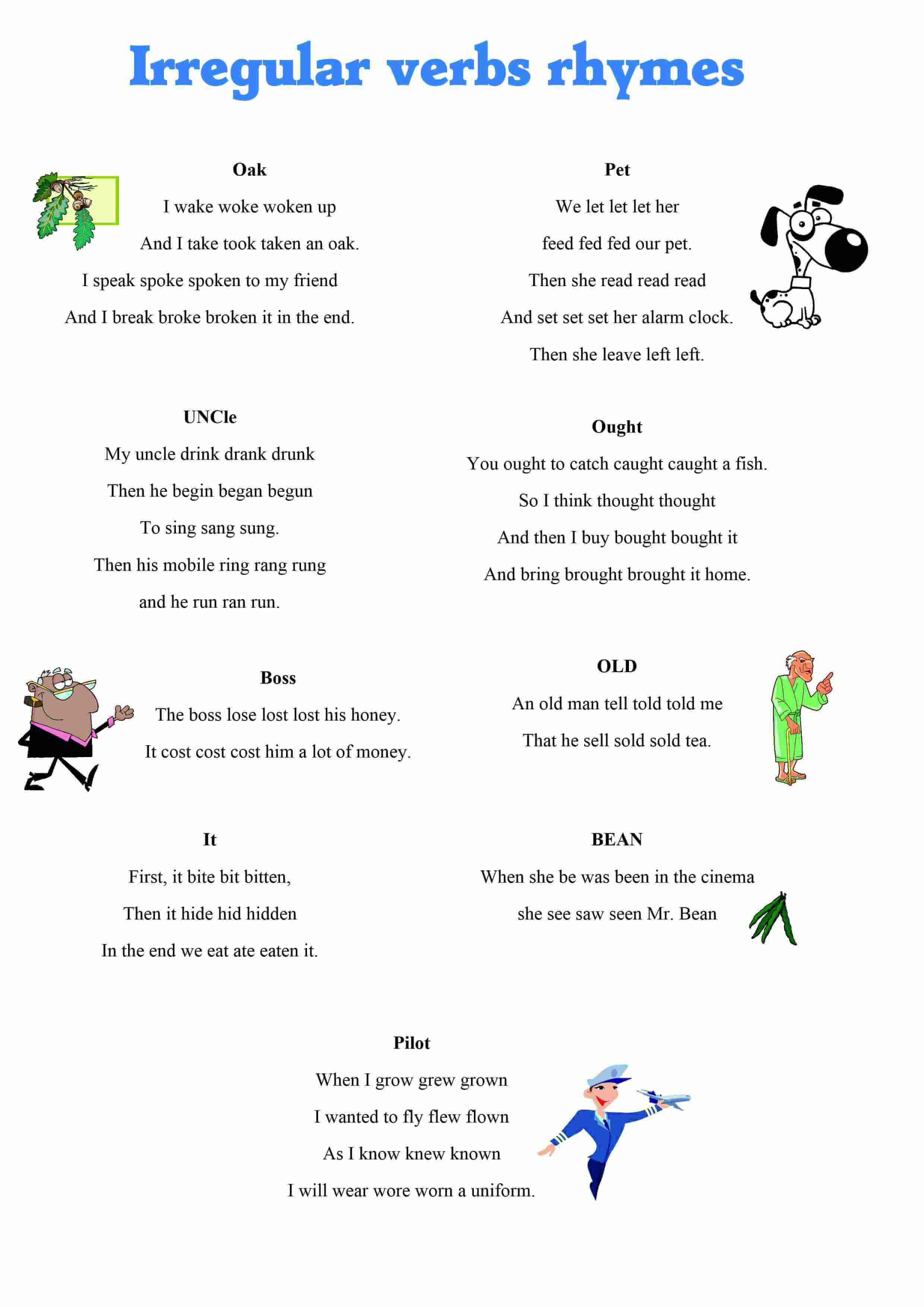 Irregular Verbs Rhymes