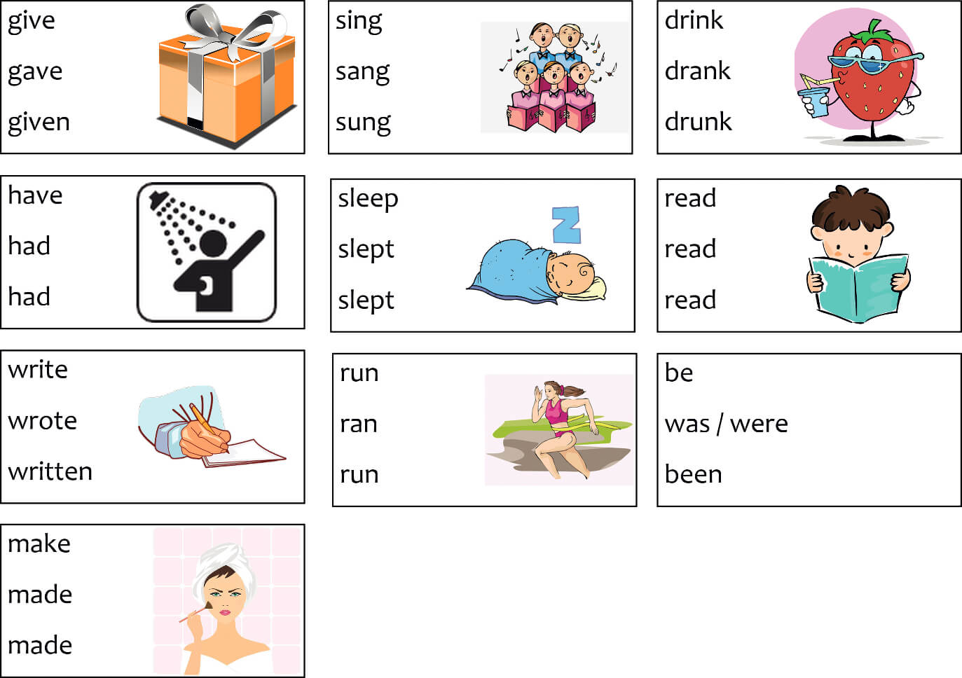 Irregular Verbs Worksheets