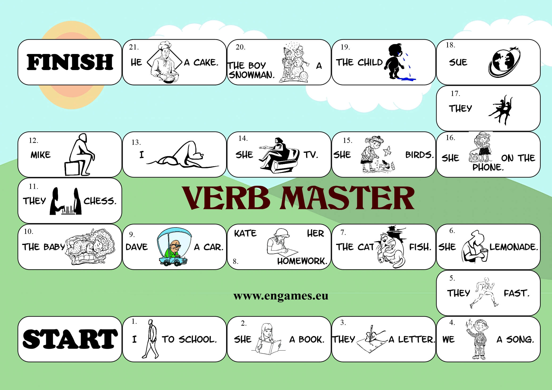 Verb Master Board Game