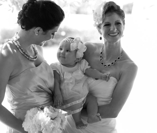 Christopher Lane Photography Black And White Image Lesbian Brides With Baby