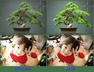 Solda ki analog kamera ile sağdaki Hd kamera arasındaki canlılık ve çözünürlük farkı