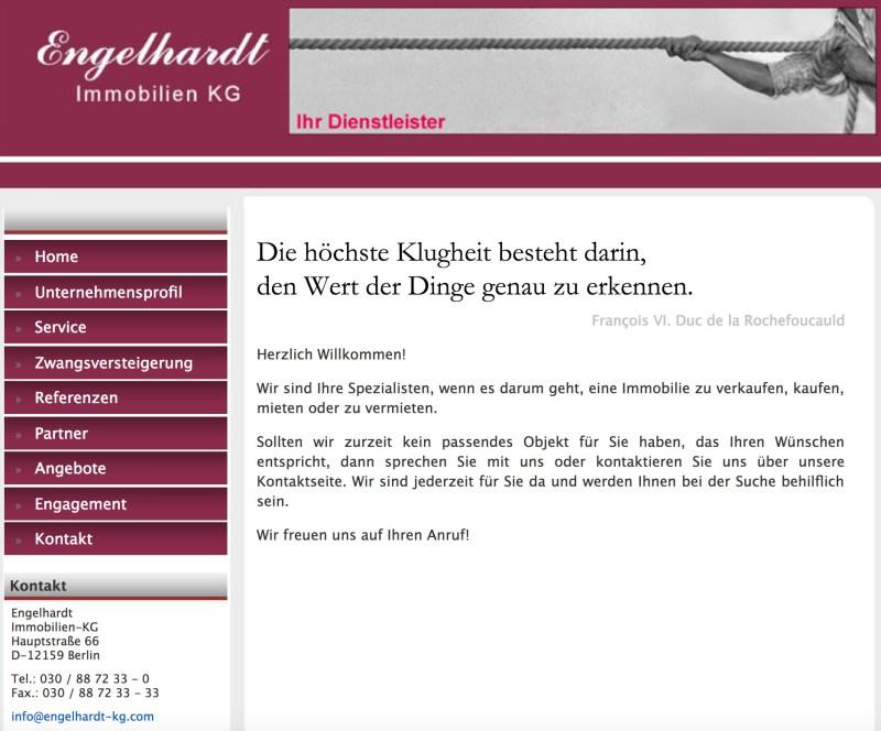 Webseite Engelhardt Immobilien KG