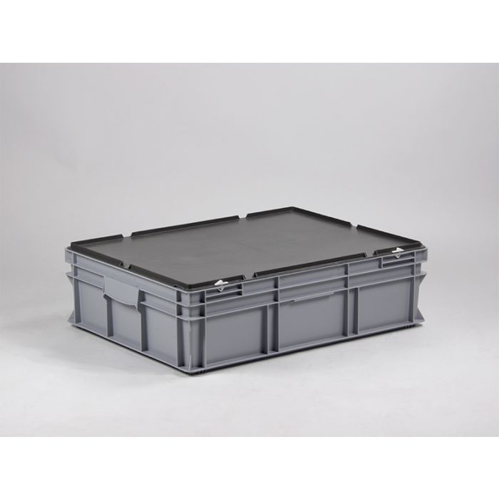 grand bac plastique avec couvercle 90 litres 80x60x22 cm e line