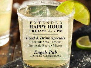 Extended Happy Hour from 2- 7 PM Every Friday