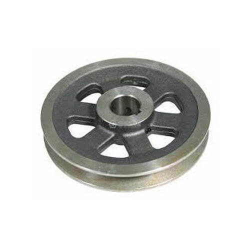 Pulleys are usually made of cast iron. The rim is placed on the web from the central boss or by arms or spokes.