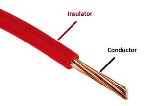 Insulator and conductor in electrical wire