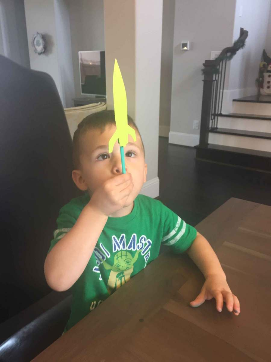 Fun and easy straw rocket STEM activity for toddlers