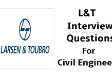 L&T Interview Questions For Civil Engineers