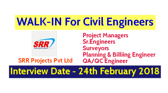 SRR Projects Pvt Ltd WALK-IN For Civil Engineers - Interview Date - 24th February 2018