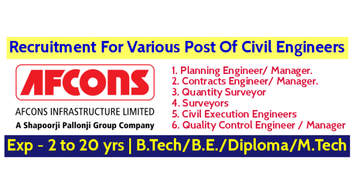 Afcons Infrastructure Limited Recruitment For Various Post Of Civil Engineers Exp - 2 to 20 yrs Apply Now