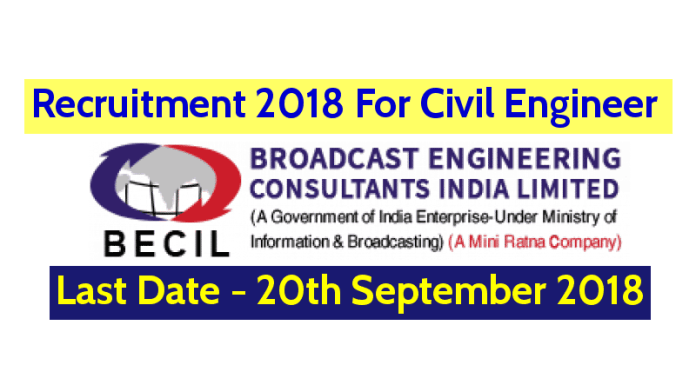 BECIL Recruitment 2018 Civil Engineer B.TechB.E.Diploma Last Date - 20092018