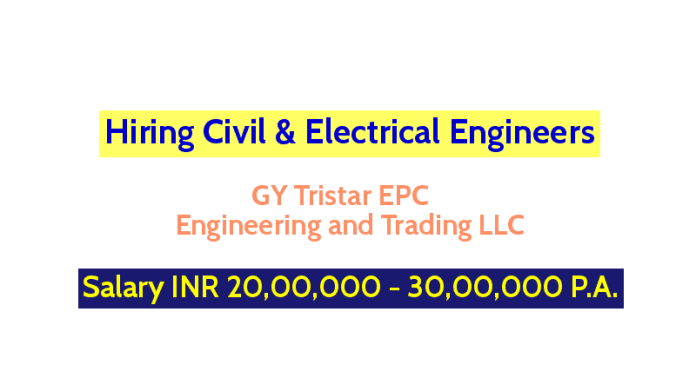GY Tristar EPC Engineering and Trading LLC Hiring Civil & Electrical Engineers Salary INR 20,00,000 - 30,00,000 P.A.