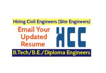 Hindustan Construction Company Ltd Hiring Civil Engineers (Site Engineers) B.TechB.E.Diploma Engineers