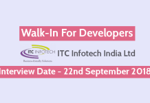 ITC Infotech India Ltd Walk-In For Developers Interview Date - 22nd September 2018