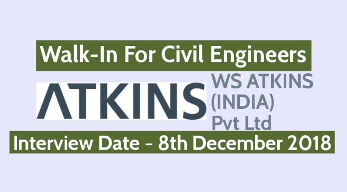 Walk-In For Civil Engineers 8th Dec WS ATKINS (INDIA) Pvt Ltd Bangalore