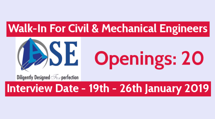 ASE Structure Design Pvt Ltd Walk-In For Civil & Mechanical Engineers Openings 20 19th - 26th January 2019