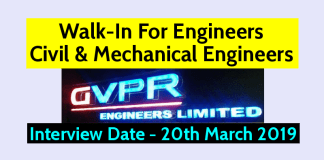 GVPR Engineers Ltd Walk-In For Engineers - Civil & Mechanical Engineers Interview Date - 20th March 2019