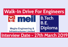 MEIL Walk-In Drive For Engineers B.TechB.E.Diploma Interview Date - 27th March 2019