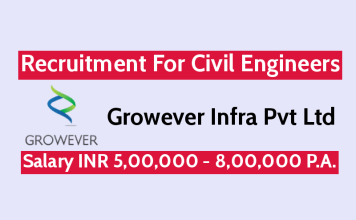 Growever Infra Pvt Ltd Recruitment For Civil Engineers Salary INR 5,00,000 - 8,00,000 P.A.