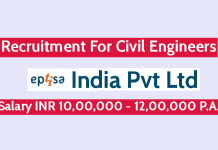 Eptisa India Pvt Ltd Recruitment For Civil Engineers Salary INR 10,00,000 - 12,00,000 P.A.