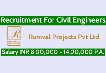 Runwal Projects Pvt Ltd Recruitment For Civil Engineers Salary INR 8,00,000 - 14,00,000 P.A.