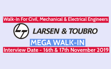 Larsen & Toubro Walk-In For Civil, Mechanical, & Electrical Engineers Interview Date - 16th & 17th November 2019