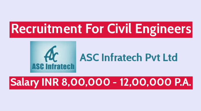ASC Infratech Pvt Ltd Recruitment For Civil Engineers Salary INR 8,00,000 - 12,00,000 P.A.