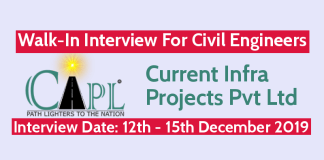 CIPL Walk-In Interview For Civil Engineers Interview Date 12th - 15th December 2019