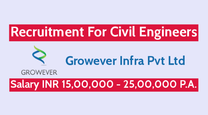 Growever Infra Pvt Ltd Recruitment For Civil Engineers Salary INR 15,00,000 - 25,00,000 P.A.