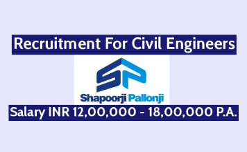 Shapoorji Pallonji Recruitment For Civil Engineers Salary INR 12,00,000 - 18,00,000 P.A.