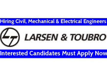 Larsen & Toubro Recruitment For Civil, Mechanical & Electrical Engineers Interested Candidates Must Apply Now