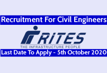 RITES Ltd Recruitment For Civil Engineers Last Date To Apply - 5th October 2020
