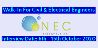 NEC Energy Pvt Ltd Walk-In For Civil & Electrical Engineers Interview Date 6th - 15th October 2020