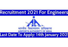 AAI Recruitment 2021 For Engineers Last Date To Apply 14th January 2021