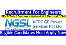 NTPC GE Power Services Pvt Ltd Recruitment For Engineers Eligible Candidates Must Apply Now