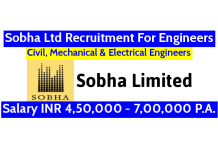 Sobha Limited Recruitment For Civil, Mechanical & Electrical Engineers Salary INR 4,50,000 - 7,00,000 P.A.