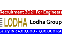 Lodha Group Recruitment 2021 For Engineers Salary INR 4,00,000 - 7,00,000 P.A.