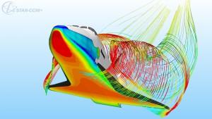 Die Softwaresuite von CD-adapco ermöglicht komplexe Strömungsberechnungen wie beim Wiedereintritt des Space Shuttle (Bild: CD-adapco).